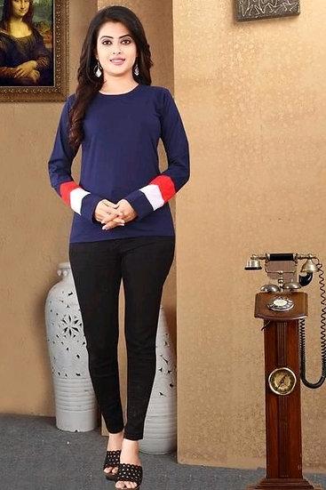 Flamboyant Premium Solit Cotton Full Sleeve T-shirt - Blue