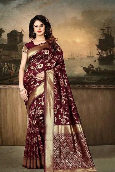 Wondrous Banarasi Silk Printed Saree - Maroon