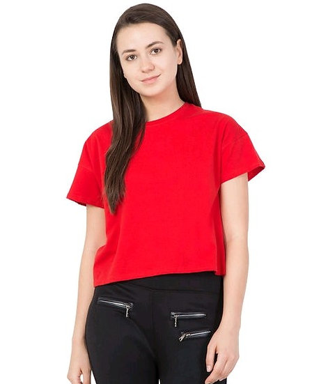 Dazzling Solid Women's Cotton T-shirt - Red
