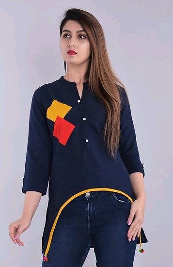 Wondrous Designer Cotton Top - Blue