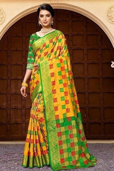 Wondrous Premium Kanjeevaram Silk Saree - Yellow