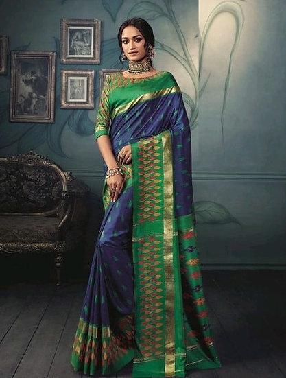 Ravishing Premium Printed Silk Saree - Blue & Green