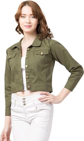 Sumptuous Solid Womens Short Jacket - Green