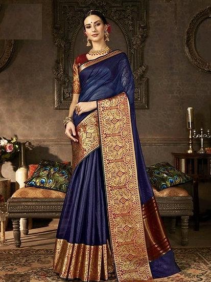 Dazzling Fancy Women's Crepe Saree - Blue