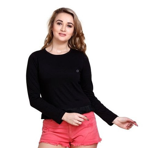 Stunning Solid Cotton Short Top - Black