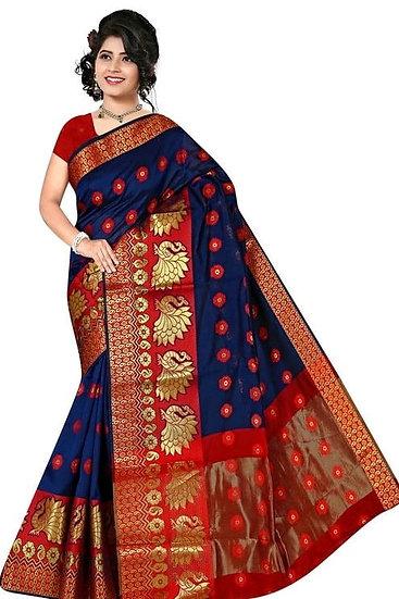 Sumptuous Banarasi Cotton Silk Printed Saree - Blue