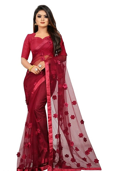 Wondrous Soft Net Saree With Flower Concept - Maroon