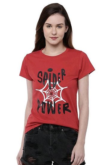 Marvel X Zilingo Spider Man Women Printed Tshirt - Red