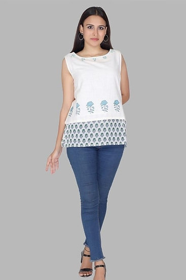 Flamboyant Cotton Blend Sleeveless Top - White