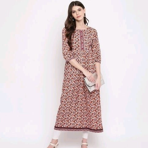 Comely Hand Worked Anarkali Cotton Kurti - Brown