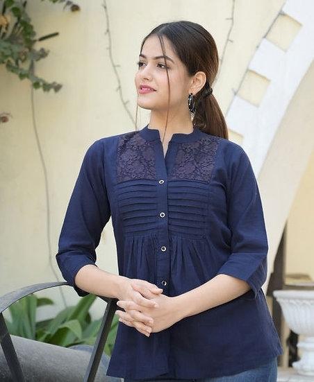 Gracious Khadi Cotton Slim Fit Netted Top - Blue