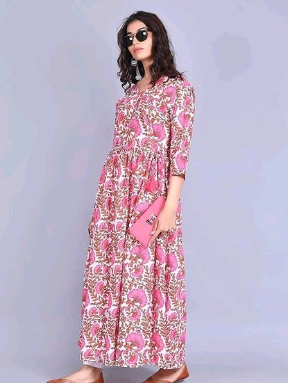 Beauteous Printed Cotton Gown Style Long Kurti -Pink