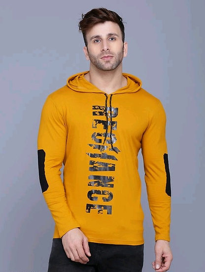 Flamboyant Men's Tshirt With Hood - Mustard