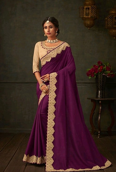 Comely Embroidered & Heavy Work Georgette Saree - Wine