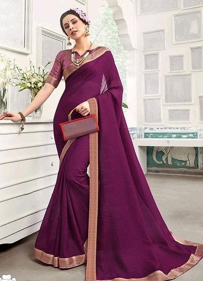 Sumptuous Chanderi Silk Solid Saree - Wine
