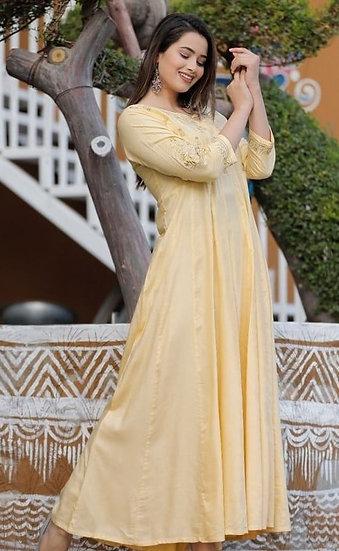 Beauteous Embroidered Long Kurti - Yellow