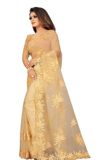 Beauteous Embroidered Premium Net Saree - Light Brown