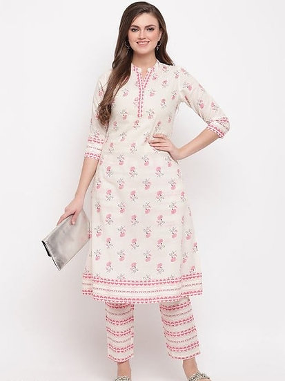 Comely Floral Print & Embroidered Kurti