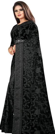 Premium Embroidered Net Saree + Bangalori Silk Blouse - Black