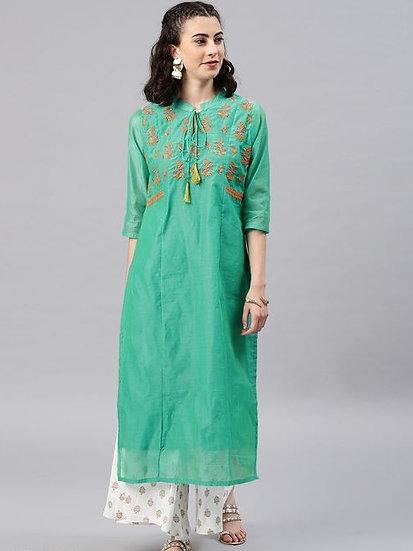 Gracious Embroidered Chanderi Silk Kurti - Green