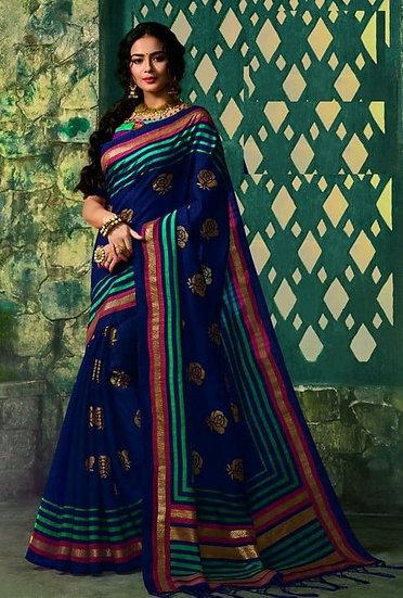 Ravishing Premium Printed Silk Saree - Blue & Bright Green