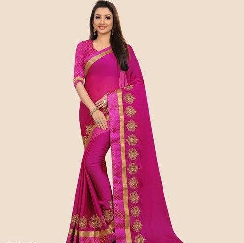 Comely Silk Chiffon Embroidered Saree - Dark Pink