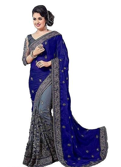 Gracious Georgette Saree With Bangalori Silk Blouse - Blue