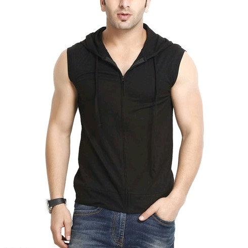 Premium Men's Sleeveless Hoody T-shirt - Black