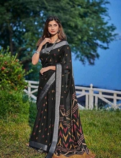 Beauteous Premium Printed Linen Saree - Black