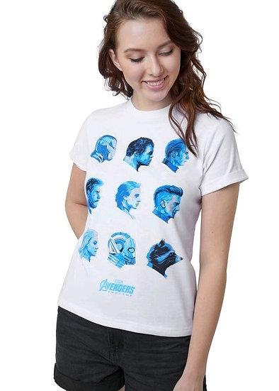 Official Marvel's Avengers Assemble Blue On White T-Shirt