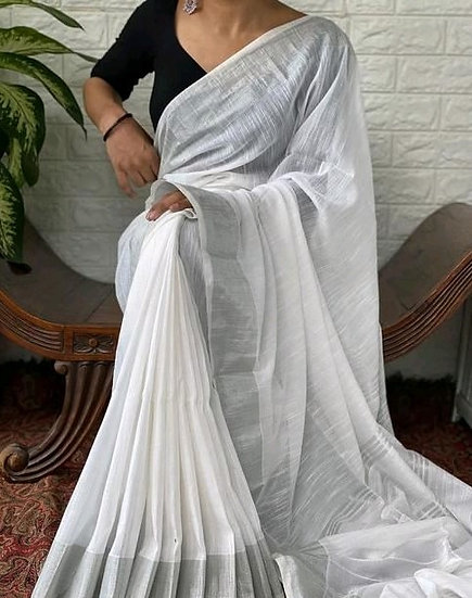 Ravishing Cotton Slub Formal Sarees - White