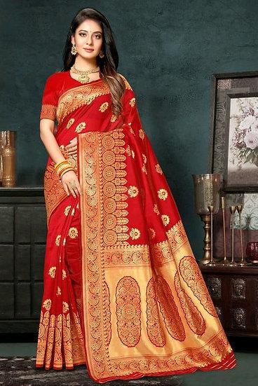 Sumptuous Printed Art Silk Saree - Red