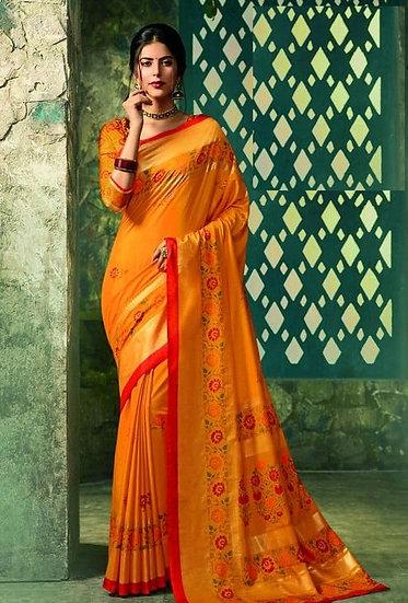 Ravishing Premium Printed Silk Saree - Yellow