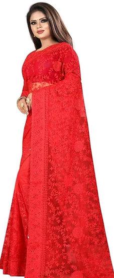 Premium Embroidered Net Saree + Bangalori Silk Blouse - Red
