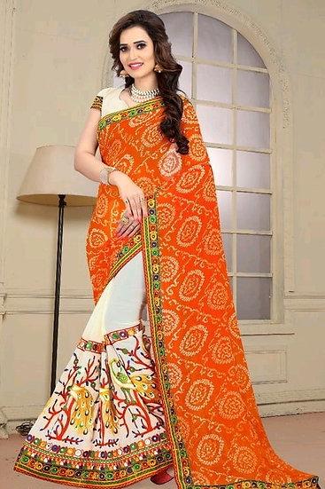 Gracious Half And Half Embroidered Bandhani Pallu Saree - Orange