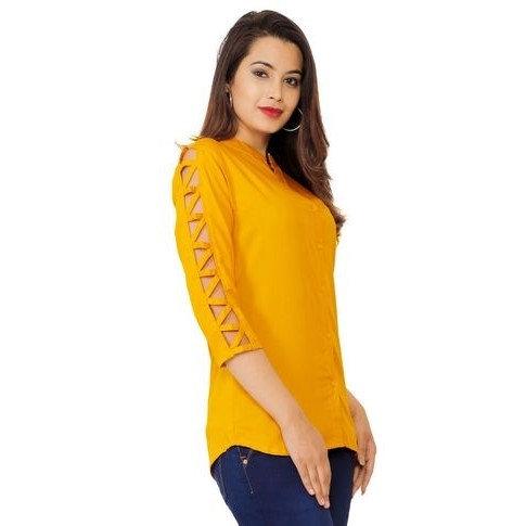 Ravishing Sold Rayon Top - Yellow