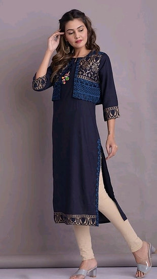 Comely Straight Kurti With Jacket