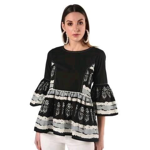 Fascinating Printed Cotton Short Kurti - Black