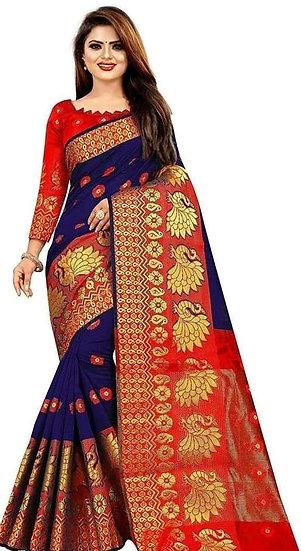 Wondrous Printed Banarasi Silk Saree - Blue