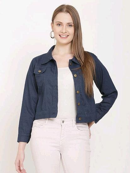 Gracious Cotton Women's Crop Jacket / Waistcoat - Blue