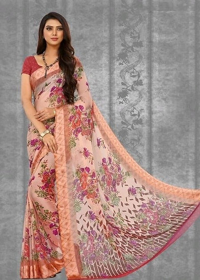 Ravishing Print Chiffon Saree - Peach