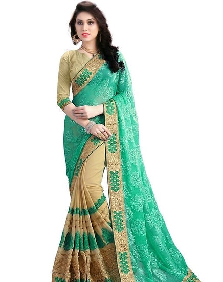 Comely Embroidered Georgette Saree - Beige & Green