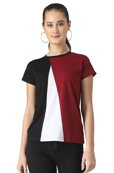 Flamboyant Block Colored Cotton T-shirt