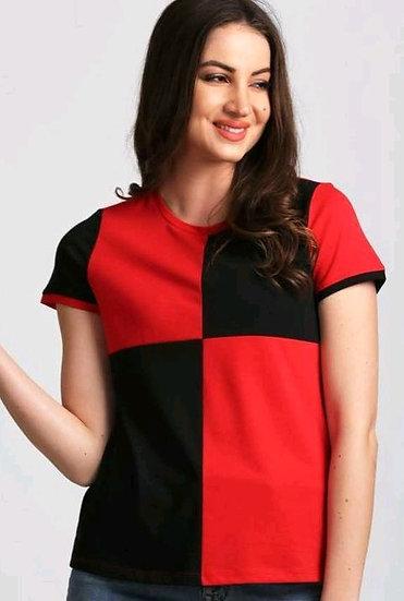 Fascinating Block Printed Womens Tshirt - Red & Black