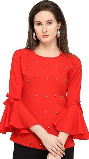 Ravishing Rayon Designer Top - Red