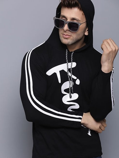 Exclusive Men's Cotton T-Shirt With Hood - Black