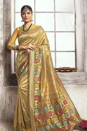 Comely Poly Silk Traditional Jacquard Saree - Yellow