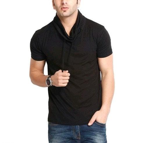 Premium Men's  Hoody Neck T-shirt - Black