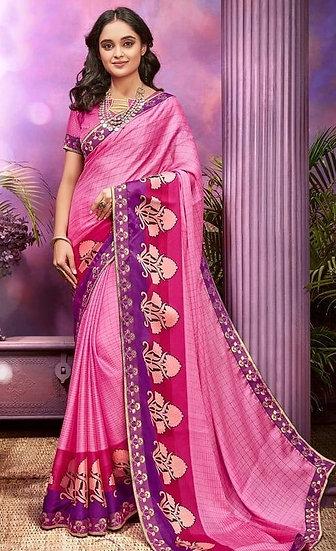 Fascinating Premium Printed Chiffon Saree - Light Pink