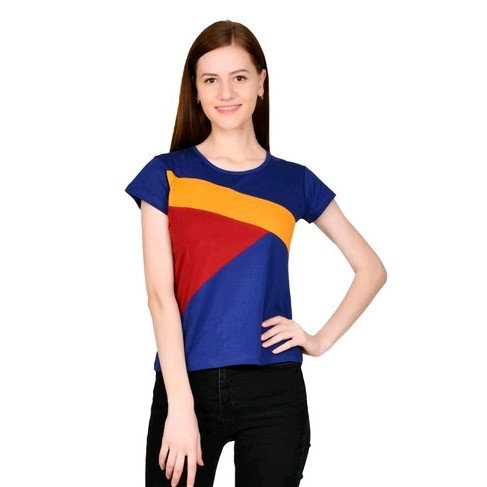 Comely Designer  Cotton Top - Blue & Yellow